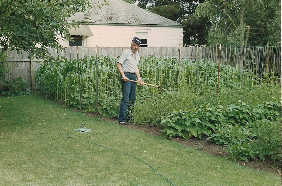 My grandfather Hal (yes, I'm named after him) working in his garden in Springfield, Oregon